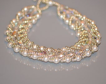 White Crystal beads bracelet