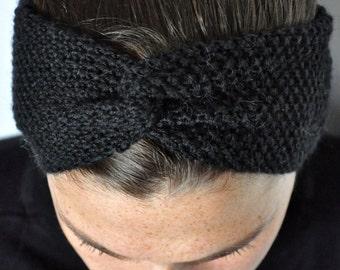 Fine Merino 100% natural for woman or child Black 10cm wool turban headband