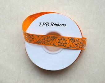 """7/8"""" Tangerine grosgrain ribbon, Tangerine ribbon, Silver foil damask, US Designer ribbon, Grosgrain Ribbon"""