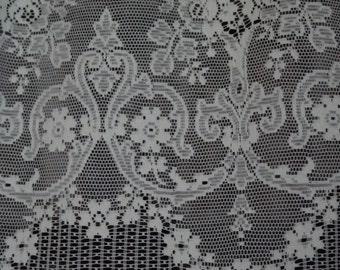 "Vintage Jessica cotton cafe curtain Nottingham lace valance bris-bise crafts 23"" drop sold off the roll per metre(39.4"")"