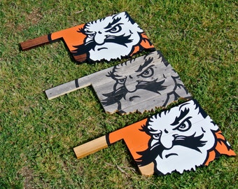 Oklahoma State Pistol Pete Painted Wood Wall Sign State Shape Cutout