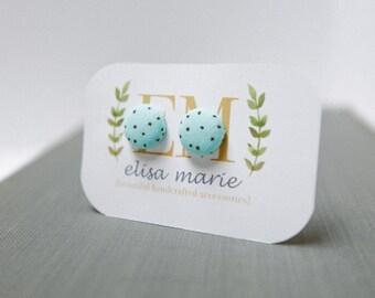 Turquoise Polka Dot Fabric Stud Earrings