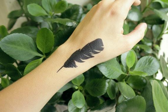 Black Feather Temporary Tattoo, Dark Grackle Bird Feather Tattoo, Nature Tattoo