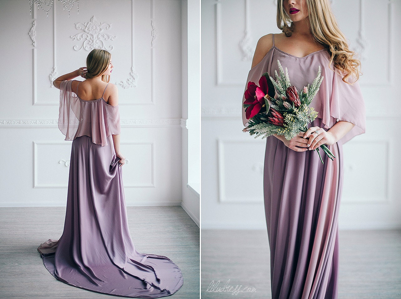 Dusty violet evening dress rose pink bridesmaid dress for Rose pink wedding dress