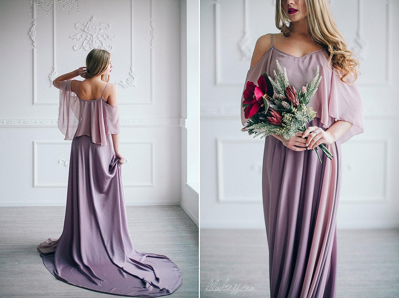 Dusty violet evening dress rose pink bridesmaid dress Rose pink wedding dress