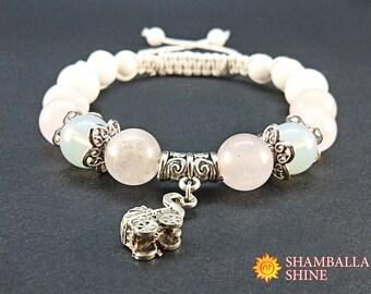 Pink quartz bracelet Happy mother bracelet Pregnant women bracelet Baby carriage pendant Moonstone beads jewelry Pregnant mom gift Gemstone