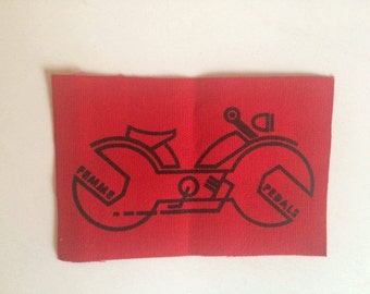 Red Screen Printed Canvas Patch