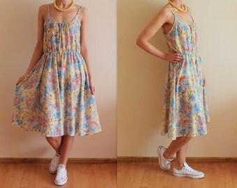 Vintage Dress Floral Print Dress Flower Print Dress Colorfull Dress Spaghetti Straps Dress Summer Midi Dress Romantic Dress Large Size