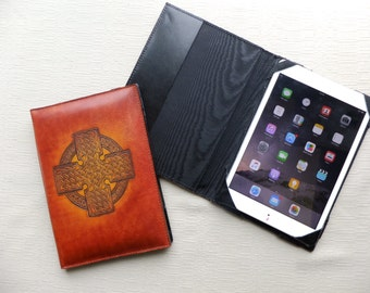 ipad mini case, leather tablet case, book style case, 1pad cover,Horween leather, hand dyed, Canadian made