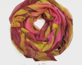 Nuno Felted Scarf, Purple and Sprout Green