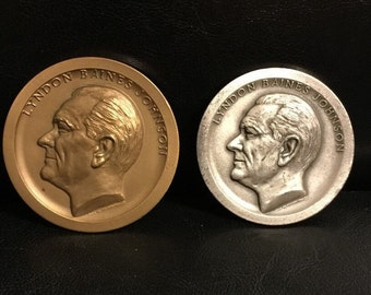 1965 Lyndon Johnson Inauguration Medals Silver & Bronze Set. 4.71 OZ. of 999 SILVER and 6.84 OZ of Bronze.