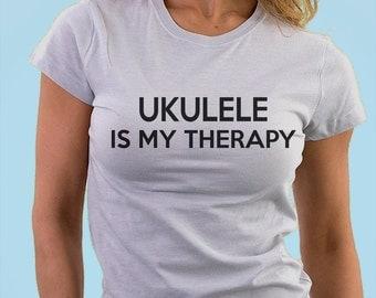 Ukulele Gift, Ukulele is my therapy shirt - 414