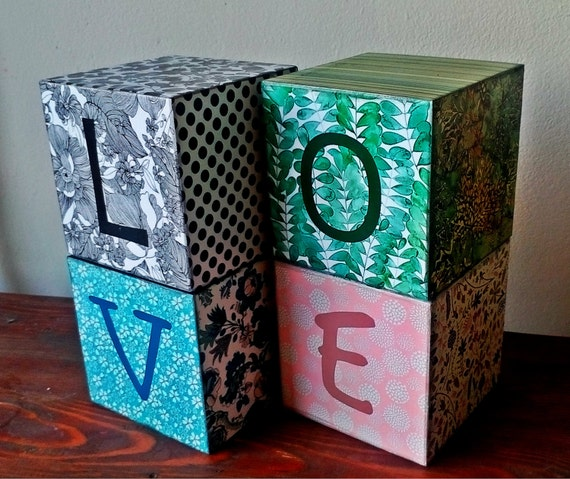 wooden block bookends home decoration love quote decorative cubes pattern decor colorful. Black Bedroom Furniture Sets. Home Design Ideas