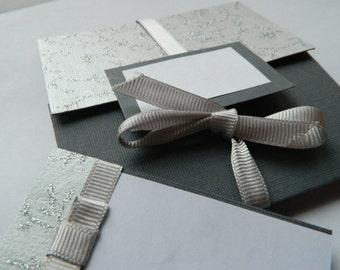 Handmade Silver/Grey wedding invitation