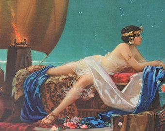Vintage Print  Cleopatra On Ship by Hintermeister