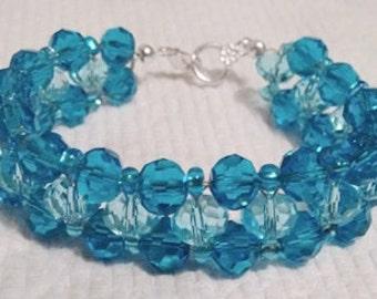 Woven Capri Blue Beaded Bracelet