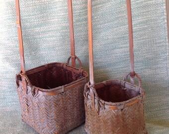 Antique Chinese Basket Ikebana Basket Willow basket