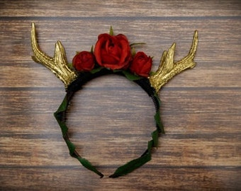 Antler Headpiece with Roses