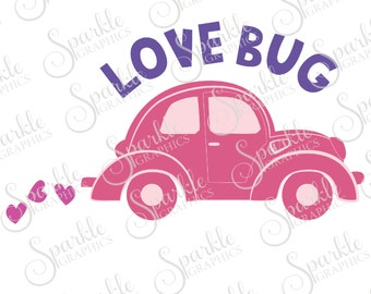 Love Bug Cut File Valentines Day SVG Love Bug Car Cute Vintage Retro Car  Clipart Svg Dxf Eps Png Silhouette Cricut Cut File Commercial Use