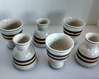 6 Vtg stoneware double egg cups hand painted yellow brown blue stripe speckle