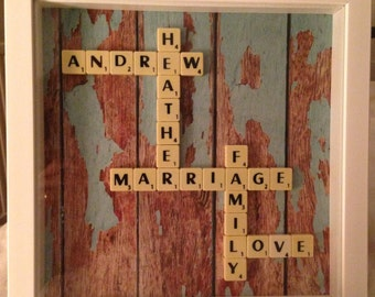 Personalised Scrabble frame Family names Valentine's Day Mother's Day Anniversary Birthday New home