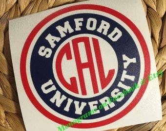Samford University Monogrammed Vinyl Decal