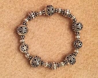 Silver Stretch Bracelet With Flowers