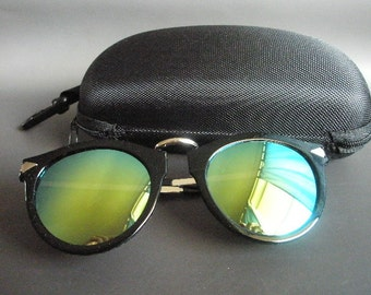 Golden light blue vintage sunglasses with free case
