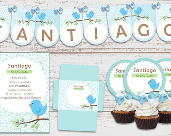 "Luxury printable Kit ""Bluebird Celeste"" birthday, baptism, baby Shower, baby. Super full. Customized, ready to print."