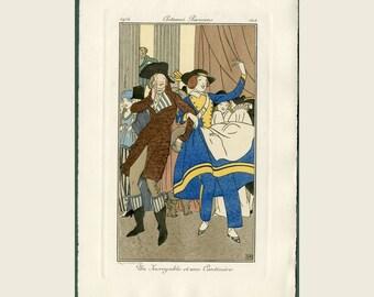 1914 Antique Pochoir Fashion Print - Journal Des Dames et des Modes - Costume Parisien, Party Attire Un Encroyable et un Cantiniere