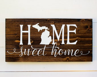 Home Sweet Home Michigan Rustic Entryway Wall Sign | Housewarming | Home Sweet Home Sign | Entryway sign | Wall Decor | Wedding | Detroit
