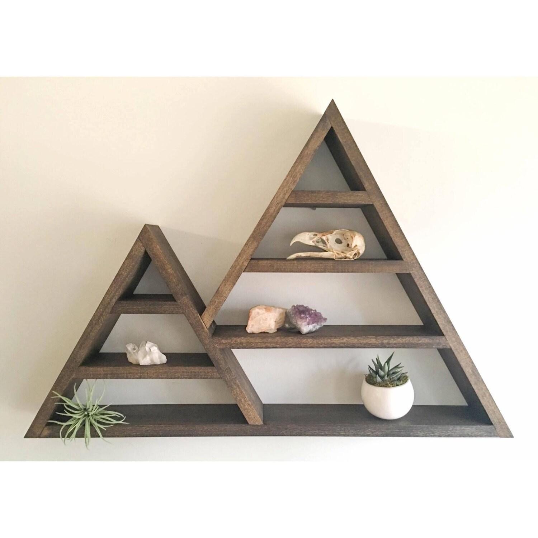 Triangle shelf crystal shadow box wood