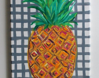 Pineapple Art, Pineapple Painting, Tropical Art, Abstract Pineapple, Kitchen Art, Dining Room Decor, Acrylic Painting, 12x16 Canvas