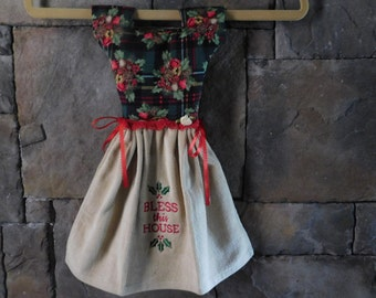 Holiday Bless this House Oven Door Towel Dress