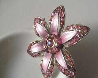 Pastel Pink Rhinestone Flower Brooch Pin Sparkle Baby Pink Large Silver tone AB aurora borealis gems