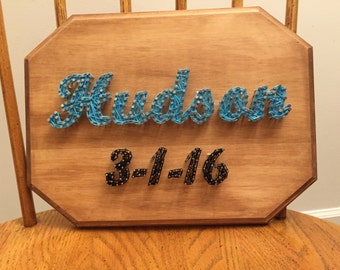 Made to Order Name and Birthday String Art