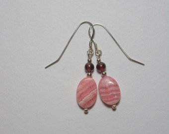 Rhodochrosite earrings with Garnets and Sterling beads