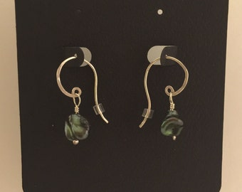 Dark green freshwater pearl and sterling silver earrings