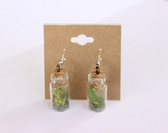 Tiny Bottle Plant Jar Earrings