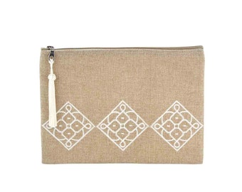 Moroccan Kit with Andalusian pattern - Matrouza - fabric jute and Pompom (tassel) in sabra - white