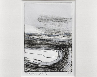 Modern graphic seaside 'Tide Lines no. 1', monochrome drypoint print with watercolour