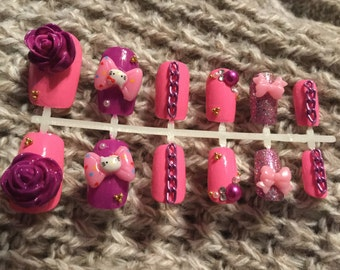 Pink and Purple Hello Kitty Nails Hand Painted Nails Hand Made Nails Faux Nails