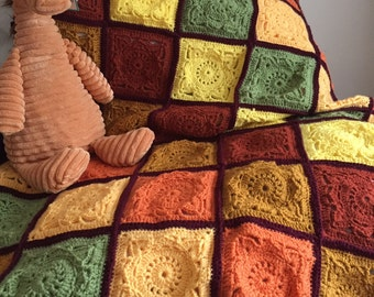 Autumnal Willow Block Granny Square Blanket