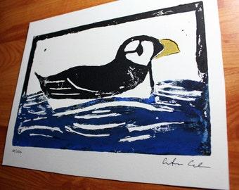 Puffin Linocut Print- 8 x 10