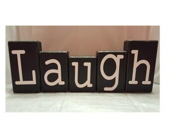Laugh Wood Block Set (Distressed)