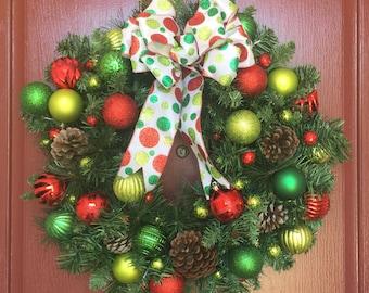 Christmas in July**, Christmas wreath, Christmas lights, holiday decor, Christmas decor
