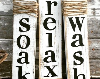Farmhouse Decor | Rustic Home Decor | Whitewash Soak Wash Relax | Cottage Home Decor | Wood Sign | Country Home | Bathroom Wall Decor