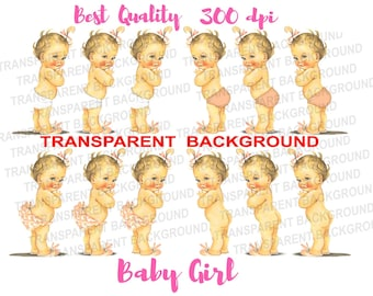 Cute Vintage Baby Girl Ruffle Pants Transparent PNG Digital Image Download Bunny Slippers Clipart Instant Download