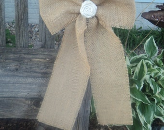 Burlap Bow with Fabric Rosette, Rustic Wedding Bow, Burlap Pew Bow, Chair Bow, Rustic/Country/Barn/Shabby Chic Wedding Decor