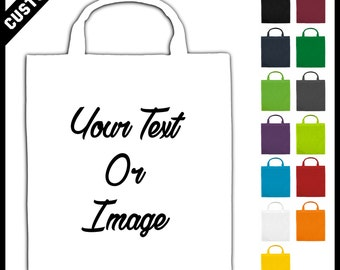 white cheap customised bags with your logo text image message